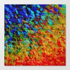 COLLISION COURSE - Bold Rainbow Splash Bricks Urban Jungle Ocean Waves Nature City Acrylic Painting Stretched Canvas by EbiEmporium - $85.00