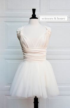 Live this!  with tea length for bridesmaids ir Jr. Bridesmaid and flower girl Convertible TUTU Dress in Ivory, White or Black skirt with any color top. $175.00, via Etsy.