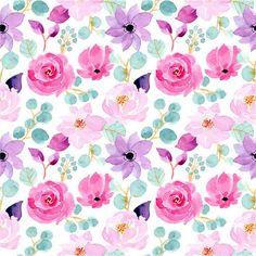 Pink And Purple Flowers, Blue Peonies, Pink Watercolor, Watercolor Circles, Watercolor Pattern, Tree Designs, Adobe Illustrator, Painting Prints, Print Patterns