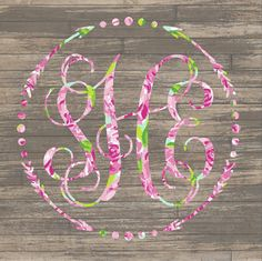Lilly Pulitzer {inspired} Arrow Monogram Decal