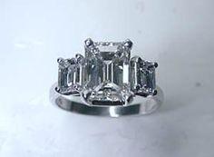 5.20ct Emerald Cut Diamond Engagement Ring GIA CERTIFIED DIAMOND JEWELFORME BLUE