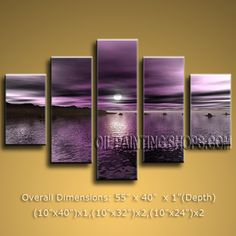 Large Contemporary Wall Art Seascape Painting Sunset Scenery Pictures. In Stock $165 from OilPaintingShops.com @Bo Yi Gallery/ ops3025