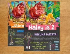 Lion King Birthday Invitation DIGITAL FILE by MunchDoodles on Etsy