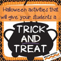 Halloween Activity - Trick AND TreatLooking for a fun and educational way to celebrate Halloween in your classroom?  Then, youll love the activities in this resource that give your students a trick AND treat.In this resource youll find a Halloween Fun activity.