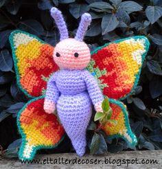Mariposa Amigurumi - Patrón Gratis en Español aquí: http://eltallerdecoser.blogspot.com.es/2015/01/patron-mariposa.html#comment-form