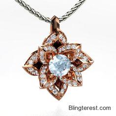 Round #Aquamarine, Multi-stone, Prong Set #Pendant in 18K Rose #Gold  #Jewelry http://blingterest.com/pendants/multi-stone-pendants/round-aquamarine-multi-stone-prong-set-pendant-in-18k-rose-gold-1413907-jewelry/