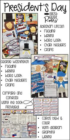 This President's Day unit covers two important presidents, George Washington and Abraham Lincoln.  Mini books will teach your students about the famous presidents.  Writing, literature connections, crafts, word work and posters for anchor charts are all included.  A fun comparing and contrasting unit is included as well.  A book written to describe the similarities and differences and then activities to go along with it.  Word cards to use in color or b & w for students to use.
