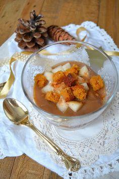 Trifle vegan à la poire, pain d'épices et crème de marrons Desert Recipes, Deserts, Vegan, Food, Pear, Easy Cooking, Conkers, Healthy, Greedy People