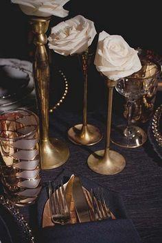 55 Elegant Navy And Gold Wedding Ideas | HappyWedd.com, Unique Wedding Ideas, Blue and Gold Weddings, Wedding Color Schemes, Table Settings, Centerpieces, Unique Floral Arrangements #navyweddings