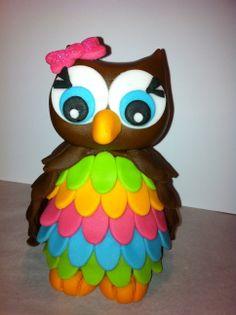Fondant Owl Cake Topper Owl Cake birthday party girl boys kids kid chil children Owls Owl hibou gateau