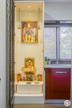 modern house images-pooja unit in niche-laminate pooja unit Living Room Partition Design, Living Room Tv Unit Designs, Pooja Room Door Design, Room Partition Designs, Home Room Design, House Design, Ethnic Home Decor, Indian Home Decor, Altar