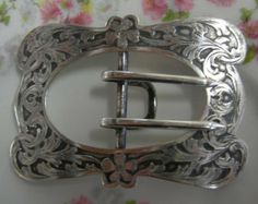 Sterling Silver Belt Buckle - Art Nouveau