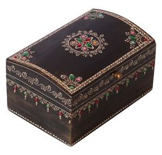 Wholesale Discount Jewelry Bulk Wholesale Handmade Wooden Rectangular Jewelry Box in Black Color Decorated with Colorful Old-World Cone-Painting Art in Traditional-Look Motifs – Ethnic-Look Boxes from India -