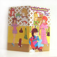 Vintage Paper Doll Book 1970s Teen Boutique w outfits by ismoyo