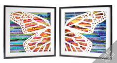 pair of butterfly wing shadowboxes made from door colorstorydesigns, $300.00