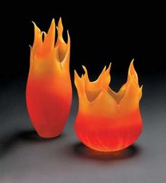 Cohn art-glass sculptures in fiery orange colours and shapes from Ron Beck Designs♥•♥•♥