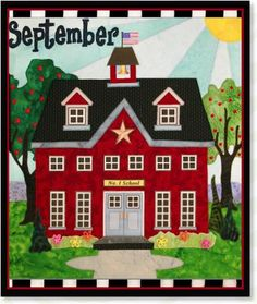 September Holiday House appliqué quilt patterns designed by Debra Gabel Of Zebra Patterns.com# quilting #appliqué