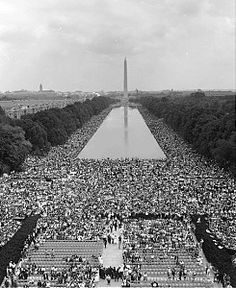 """March on Washington for Jobs and Freedom. Crowds on the National Mall from the Lincoln Memorial to  Washington Monument, 1963. Photo: Warren Leffler. MLK Jr.'s """"I Have a Dream"""" speech. Black, White, Latino, American Indian, Jewish, Christian, men, women, famous, anonymous, but all Americans, marching for civil rights. 250,000 total. 5,900 officers and 6,000 soldiers and Nat'l Guardsmen, but it was peaceful. Arrived in Washington, D.C. by planes, trains, cars, and buses from across the…"""