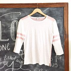 J. Crew Blush & White Baseball T-Shirt Retail. There is some minimal wear. No rips or stains. First picture filtered. Blush and white. 3/4 sleeves. Crew neck. No trades or PayPal don't ask. •0224160395• J. Crew Tops Tees - Long Sleeve