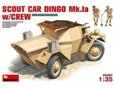 The MiniArt British Scout Car Dingo Mk.Ia with Crew in 1/35 scale from the plastic military models range accurately recreates the real life British lightly armoured scout car from World War II.  This plastic military kit requires paint and glue to complete.