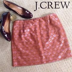"""🎉HP!🎉J.CREW Metallic Brocade Mini Skirt 🎉HOST PICK WARDROBE REFRESH PARTY 3/16/16 by @donnadiddy🎉 This J.Crew Exclusive mini skirt in metallic brocade boasts eye catching coppery pink threading on a burnt umber background. Make this gorgeous skirt the latest addition to your wardrobe today! Waist: 15"""", Length: 16"""", Hip: 19"""". NWOT! See tag pic for materials. 🌟 J. Crew Skirts Mini"""