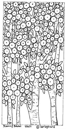 Rug Hook Paper Pattern Blooming Birches Folk Art Karlag