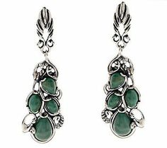 Carolyn Pollack Green Turquoise Sterling Earrings