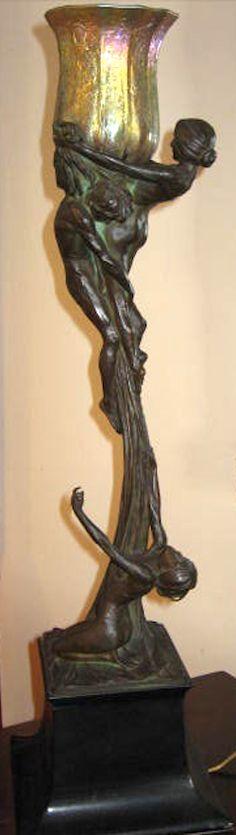 GUSTAV GURSCHNER figural Art Nouveau lamp