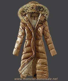 Discounts 2013 New! Moncler Down Coat Women Hooded Windproof Light Tan