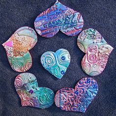 polymer clay hearts - really lovely!