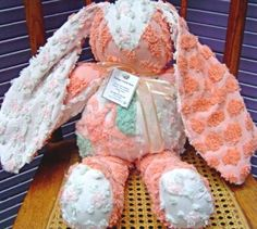 Vintage Chenille Bunny handmade from vintage chenille bedspreads