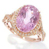 Gem Treasures 14K Rose Gold 7.50ctw Oval Pink Kunzite & Diamond Ring ShopNBC.com