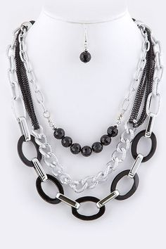 TWO TONE NEO BOHEMIAN CURB MULTI LINK STATEMENT NECKLACE EARRINGS SET (Silver/Black) - $23