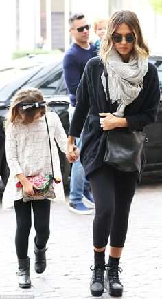 Family fun: Jessica Alba seen here outside the Montage Hotel in Beverly Hills on Sunday wi...