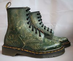 Dr Martens Made in England 1460 Green new w/o box custom gold paint Docs size 3 in Clothes, Shoes & Accessories, Women's Shoes, Boots | eBay!