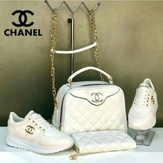 Sneakers and matching bag with wallet available from size 36 to 40 we do shipping worldwide. Chanel Brand, Chanel News, Chanel Shoes, Coco Chanel, Sneaker Heels, Sneakers, Versace Heels, Shoulder Handbags, Shoulder Bag