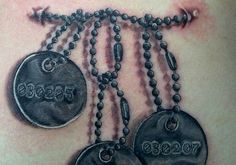 The dog tag tattoos are very popular among the people as memorial pieces. They love to get their body carved with the traditional identification mark worn by the soldiers. Dog Tags Tattoo, Cool Pictures To Draw, Dog Tag Necklace, My Style, Ideas, Jewelry, Tatoo, Cool Pics To Draw, Jewlery