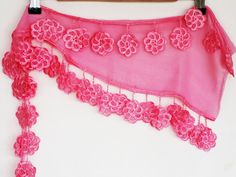 PINK FLOWER Cotton Scarf With Lace Fashion by mediterraneanlights, $16.90