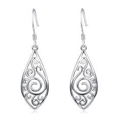 Solid 925 Sterling Silver Rhombus Design Knot Filigree Dangle Drop Hook Earrings