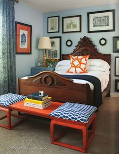 Orange and blues color schemes, bedroom. For guest room. Make it red and cobalt for a Chicago themed guest room.