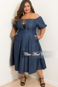 2d70ed17358 New Plus Size Lace Up off the Shoulder Flare Dress with Back Silver Zipper  in Dark Denim