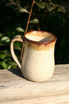 Pottery Mug with Handle Linen and Brown Glaze NC by Beaverspottery