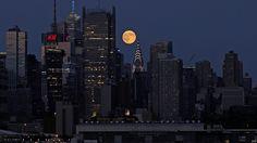 El fenómeno de superluna vista desde Nueva York, 10 de Agosto del 2014.