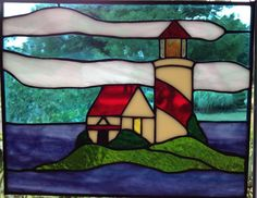 Lighthouse Panel on fair weather day by BRGlassWorks on Etsy, $60.00