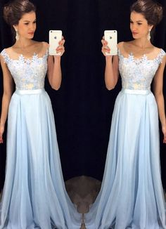 Bg816 Charming Prom Dress,Blue Prom Dress,Chiffon Prom Dress,Long
