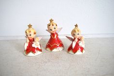 Vintage Lefton Christmas Angels - Bell Angels - Naughty Sisters - 1956 by thedancingwren on Etsy https://www.etsy.com/listing/232290673/vintage-lefton-christmas-angels-bell