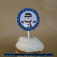 cute winter holiday snowman cupcake or cake toppers christmas decorations. custom personalized - set of 12 handmade by OnCupcakeMoon