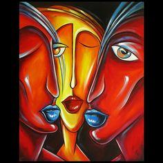 Acrylverf schilderij drie gezichten