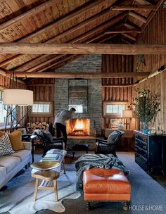 February: A Log Cabin Living Room Living Room With Fireplace, Cozy Living Rooms, Casas Country, Log Cabin Living, Cabin Interiors, Rooms Home Decor, Room Decor, Cabin Homes, Cozy House
