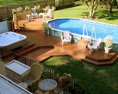 Above-Ground Swimming Pool Designs, Shapes and Styles: Wood decks built to surround above-ground pools give them a more-permanent look. Description from pinterest.com. I searched for this on bing.com/images